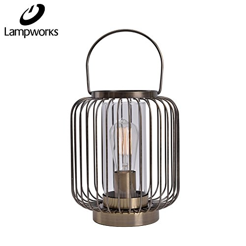 Vintage Series Table Lamp (Lampworks Table Lamp Metal Cage Bedside Lamp Glass Lampshade Vintage Industrial Design Light for Bedrooms Living Room(Bulb Not Included))