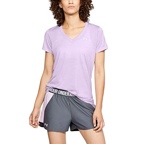 Under Armour womens Tech V-Neck Twist Short Sleeve T-Shirt, Purple (543)/Metallic Silver, Small