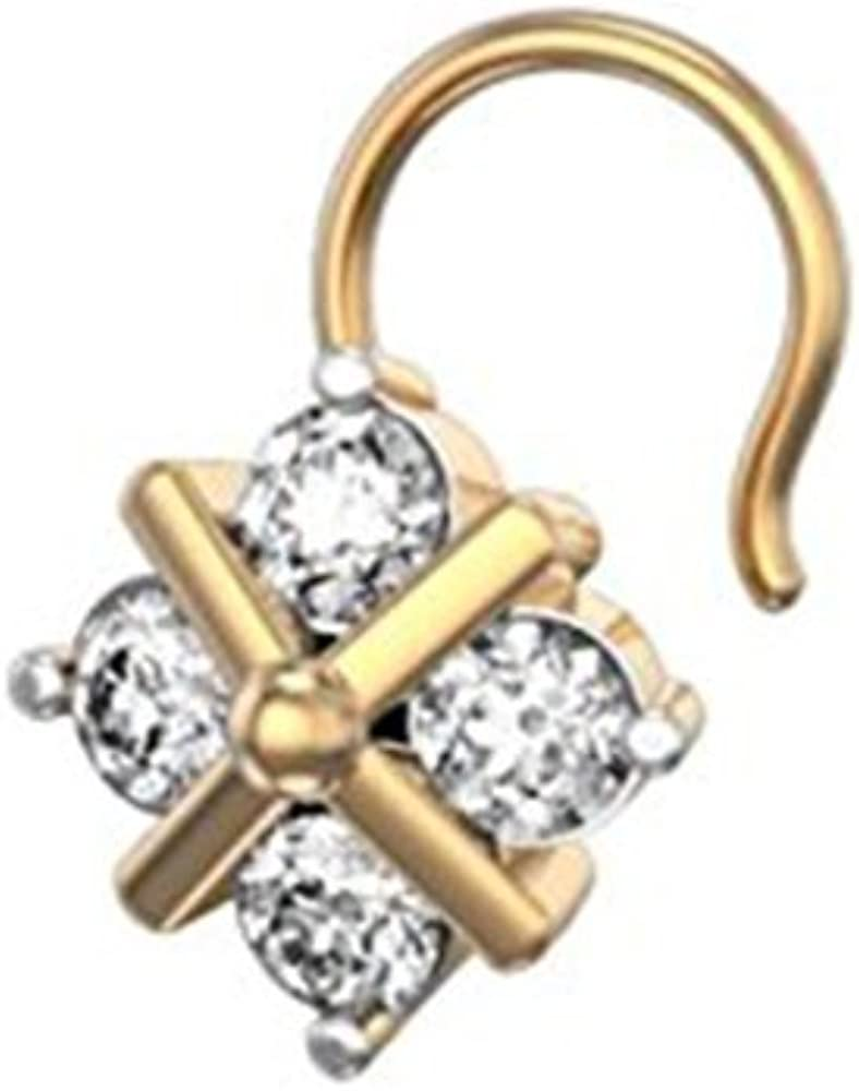 Ashley Jewels 14K Yellow Gold Plated Fn Simulated Diamond Studded Nose Stud Pin Body Piercing Jeweley