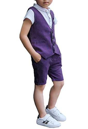 Boys Summer Pinstripe Suits Vest Set 2 Pieces Vest and Pants/Shorts Set 3 Colors (5, Purple) by YUFAN