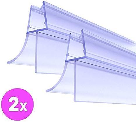 Junta para puerta de ducha prémium, 2 x 100 cm, con bordes de goma alargados para suelo seco en el baño, para puerta de cristal de 6 mm, 7 mm, 8 mm