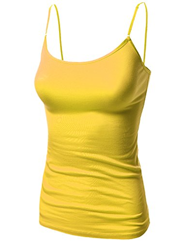 Awesome21 Basic Solid Camisole Tank Tops with Adjustable Straps Yellow Size S