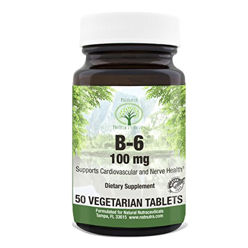 Vitamin B6 Pyridoxine Hydrochloride by Natural Nutra – 100 mg, 50 Tablets – Supports Heart and Nerve (Mic B12 Injections)