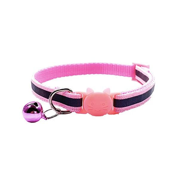 PACCOMFET 12 Pcs Breakaway Cat Collar Nylon Reflective Cat Collar with Bell, Multicolor, Safe and Durable 6