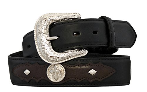 Silver Canyon Men's Leather with Studs and Conchos Black/Brown Belt