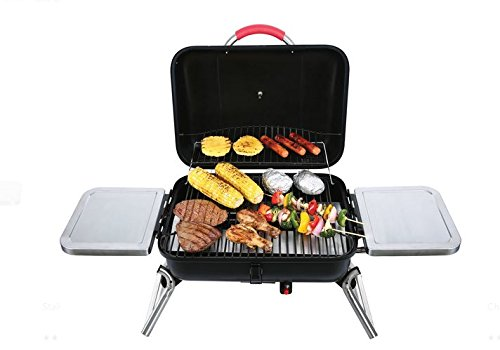 Albmax-expert Gas Grill Portable Tabletop BBQ Propane with 2 Side Shelves Barbeque Camping Barbecue Grills Outdoor Backyard Patio