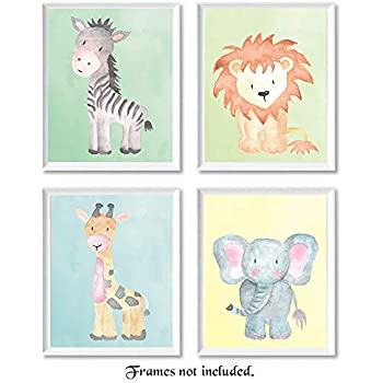 Baby Safari Animals Prints for Nursery - Set of 4 (Four) 8x10 Poster Pictures of Lion, Elephant, Zebra & Giraffe - Unframed Wall Art for Babys Room - Great ...