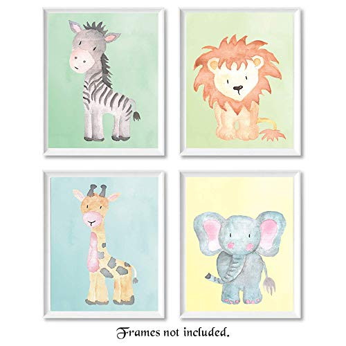 Baby Lion Elephant Giraffe Zebra Poster Prints Set of 4 8x10 Unframed Photos Wall Art Decor Under 20 for Home Office Shop Studio Nursery Student Teacher Earth amp Safari Animals Fan