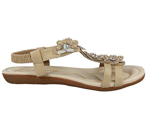 Jo & Joe Ladies Faux Leather Peep Toe Sling Back T-Bar Flower Fashion Flat Diamante Flip Flop Sandals Size 3-8 Tan 101 i78cc