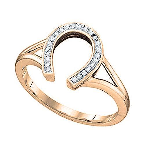 Diamond Ladies Ring Horseshoe (0.08 Carat (ctw) 10K Gold Round White Diamond Right Hand Horse Shoe Ring (Size 7))