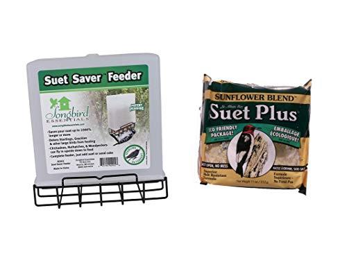 - Suet Saver Feeder and Sunflower Blend Suet Cake Bundle for Wild Birds