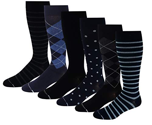 6 Pairs Pack Men's Dr. Motion Athletic Traveler Graduated Compression Knee High Socks (10-13, Assorted# 2) (Motion Man)