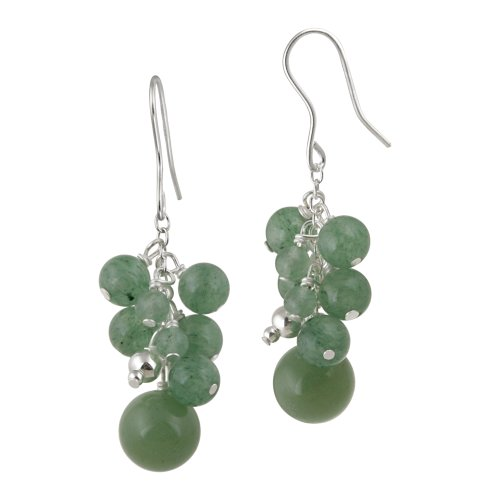 Sterling Silver Aventurine Bauble Drop French Wire Earrings