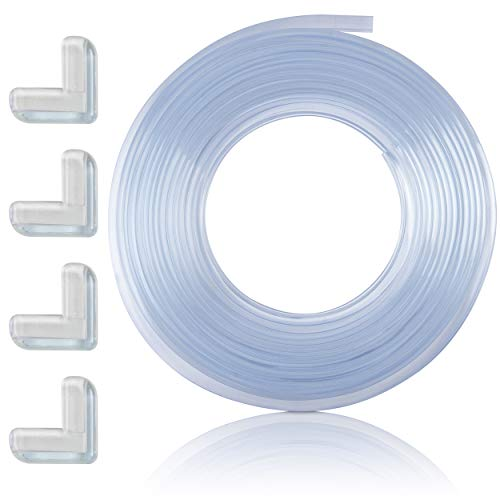Surbaby Baby Proofing Edge Guards 20ft (6.1m) Roll – Furniture Bumper with Double-Sided Mounting Tape + 4 Corner Guards for Cabinets, Tables – 100% Clear, Dense, Elegant, Easy to Install