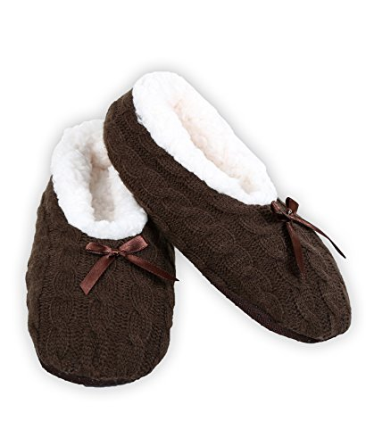 ICONOFLASH Womens Cable Knit Ballet Style Slippers with Faux Shearling Lining Brown XwUozvmctU