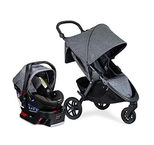 Britax B-Free Travel System with B-Safe Ultra Infant Car Seat – Birth to 65 Pounds | All Terrain Tires + Adjustable Handlebar + Extra Storage with Front Access + One Hand, Easy Fold, Vibe