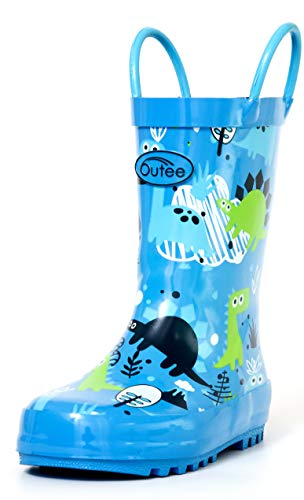 Outee Boys Rain Boots Little Kids Toddler Rubber Waterproof Shoes Printed Blue Dinosaur Cute Print with Easy On Handles (Size 12,Blue)