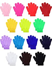 14 Pairs Warm Winter Gloves Children Knit Gloves Colorful Kids Winter Gloves for Boys Girls, 5 to 12 Years Old