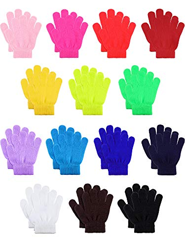 Childrens Gloves Magic (Hestya 14 Pairs Warm Winter Gloves Children Knit Gloves Colorful Kids Winter Gloves for Boys Girls, 5 to 12 Years Old (14 Mix Colors))
