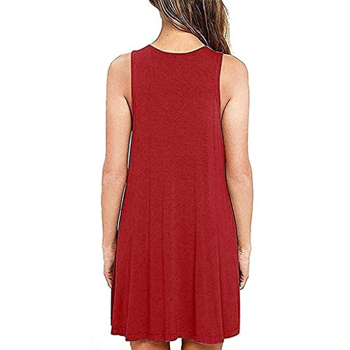 COOKI Women Dresses Summer Casual T Shirt Dress Beach Cover up Simple Swing Tank Dress Loose Plain Dress Red by COOKI Women Dresses (Image #1)