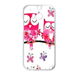 Happy Pink lovely owls Cell Phone Case for HTC One M8
