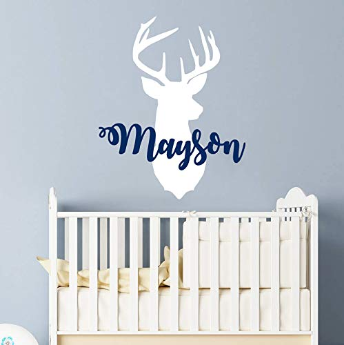 Personalized Boy Name With Deer Antlers Wall Decal Nursery. Baby Name Hunting Themed Woodland Wall Decor. Rustic Nursery Wall Decor. Deer Head Wall Vinyl Sticker. Custom Name Wall Decals for Boys vs42