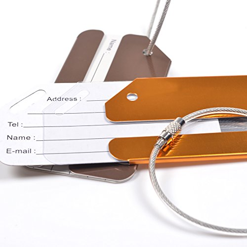 KLOUD City ® 2 pcs Metal Travel Accessories Square-shape Luggage tag / Identifier with Name Card (Golden & Coffe) Photo #4