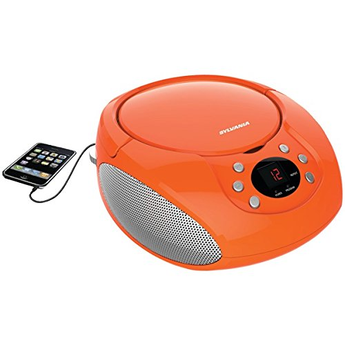 Sylvania Portable CD Boombox with AM/FM Radio (Orange) (Cd Player Orange)