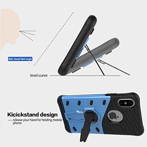 Apple iPhone 8 La caja del teléfono Firmeza y Flexibilidad Espalda Cover Estilo Smartphone Funda Carcasa Case Cover Caso con Pata de Cabra para Apple iPhone 8 (Azul) Plata