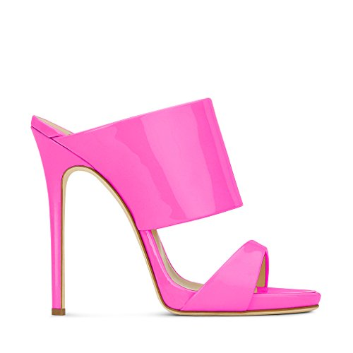Fsj Women Versatile Open Toe Mule Shoes Sandali Femminili A Stiletto Slingback Taglia 4-15 Us Pink