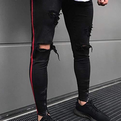 Strappati Jeans Pantaloni Classiche Vestibilità Uomo Vita Nero Denim Slim Alta Da Vintage A In Ragazzi Fit 4fw1dfq
