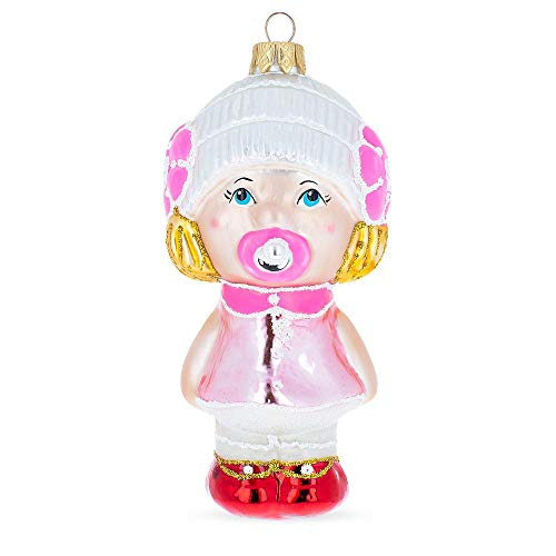 BestPysanky Toddler Girl with Pacifier Mouth Blown Glass Christmas Ornament 5.7 Inches