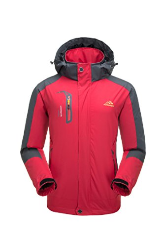 KISCHERS Rain Jacket, Men's Waterproof Jackets with Hood, Outdoor Raincoat, Windproof Softshell Jacket for Hiking (Red 1, S) by KISCHERS