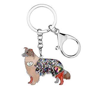 Collie Keychain Rhinestone Border Collie Key Chains Unique Dog Pendant Animal Pet Jewelry Bag Purse Charm for Women & Girls Valentine Gifts 10