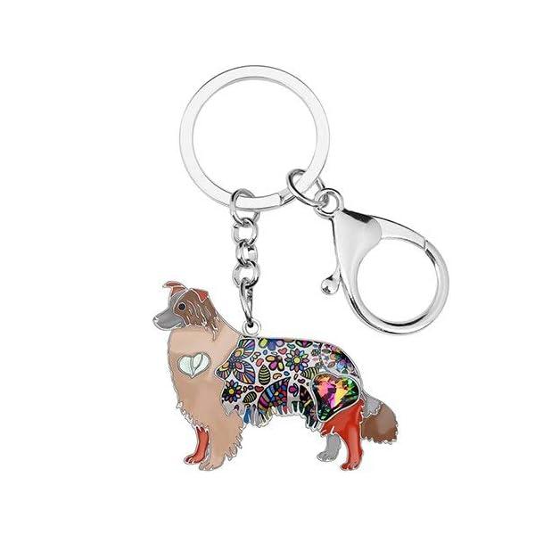 Collie Keychain Rhinestone Border Collie Key Chains Unique Dog Pendant Animal Pet Jewelry Bag Purse Charm for Women & Girls Valentine Gifts 1