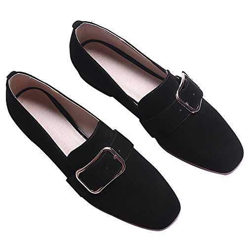 Heel Black rismart Slip Court Buckle Women's on Shoes Trendy Chunky Suede qqvXCw