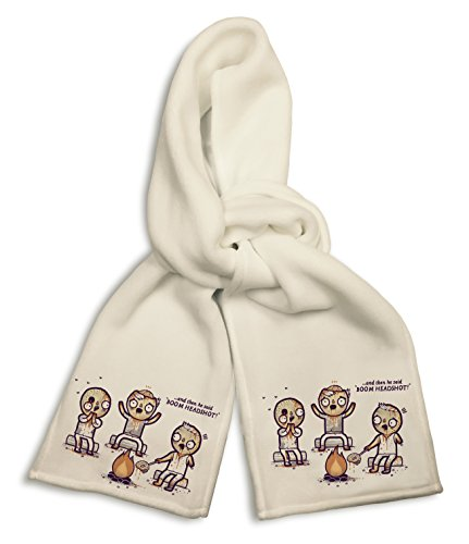 White Winter Scarf - Zombies Around Campfire Telling Tales & Roasting Brain (Tales Sides Both Brain)
