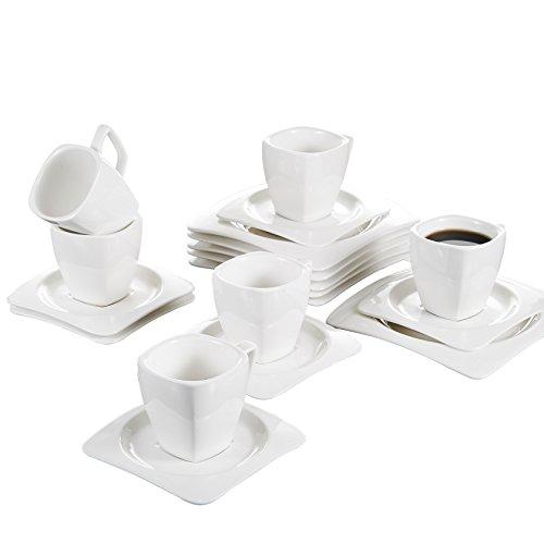 Professional Series 14 Piece (Malacasa, Series Rosana, 18-Piece Ivory White Porcelain China Ceramic Cream White Dinner Combi-Set with 6-Piece Cups 6-Piece Saucers and 6-Piece Dessert Plates Service for 6)