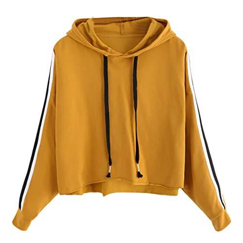 AIMEE7 Sweat  Capuche Femme Manche Longue  Rayures Crop Hoodie T Shirt Tops Haut Jaune