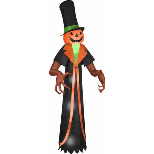 Halloween Airblown Inflatable 12' Pumpkin with Top Hat By Gemmy