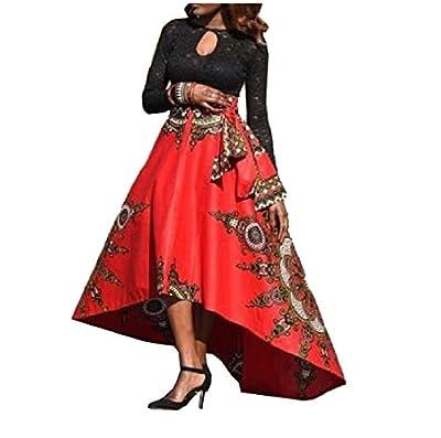 Comfy Women African Print Dashiki High Low Hem Chic Lacing Skirt