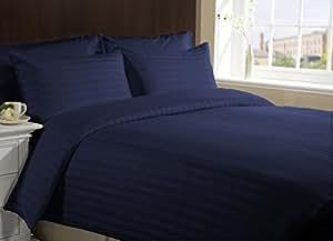 SACRO 100% algodón egipcio 600tc32cmdeep bolsillo 3piezas Sábana bajera UK pequeño tamaño individual azul marino Color rayas patrón
