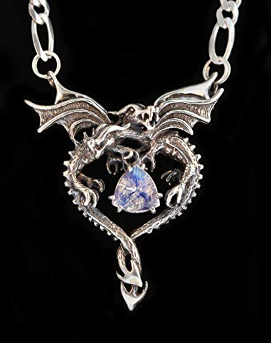 (Dragon Necklace Silver Dragon Heart Pendant with Amethyst Double Dragon with Gemstone Jewelry)