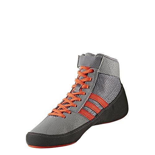 adidas HVC 2 K Youth Wrestling Shoes, Grey/Solar Red/Grey, Size 5.5 by adidas