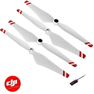 DJI 2 Pairs Self-tightening 9450 2CW/2CCW Propellers for Phantom 3/Phantom 2 series or Flame Wheel series platforms and E310/E305/E300 with Luckybird USB Reader 1PC(White with Red Stripes) 41wnxGbQOvL