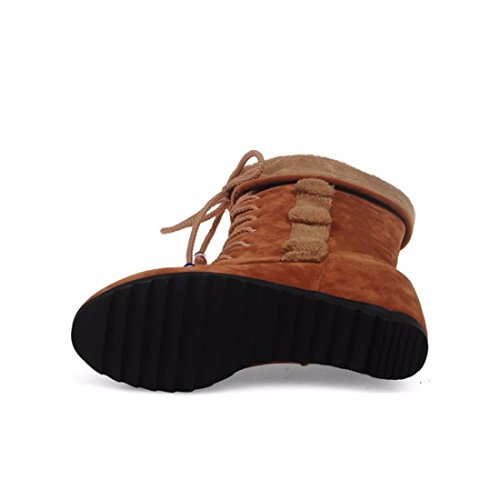 mate planas brown de de aumento El invierno de tamaño botas botas redondo de tubo las ap1xwq