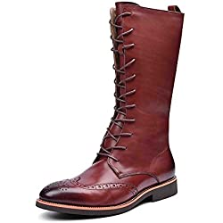 Zorgen Men's Mid-Calf Boots Genuine Leather Oxfords Wedding Formal Dress Riding Boots Black/Brown Color