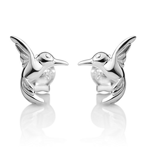 - 925 Sterling Silver Tiny Little Flying Hummingbird Bird Lovers Post Stud Earrings 7x9 mm