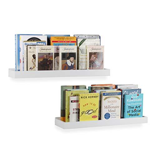 Wallniture Modern Floating Shelf Tray Wall Mount Home Decor White 23 Inch Set of 2 (Floating White Bathroom Shelves)
