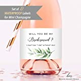 Set of 12 Greenery Bridesmaid Proposal Mini Champagne Bottle Labels, WATERPROOF Polyester Mini Wine Bottle Labels, Proposal Idea for Bridesmaids, Maid of Honor & Matron of Honor